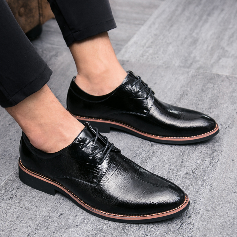 2018 England Men Shoes Casual Pointed Toe Vintage Autumn Shoes Leather Elevator Shoes Men Lace Up Dress Shoes Zapatos De Hombre