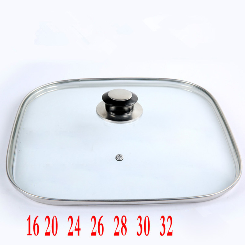 16-32cm Cookware Reinforced Square Glass Lid Tempered Wok Lid Pyrex Glass Round Chef Pan Lid With Knob Premium Quality Pan Cover