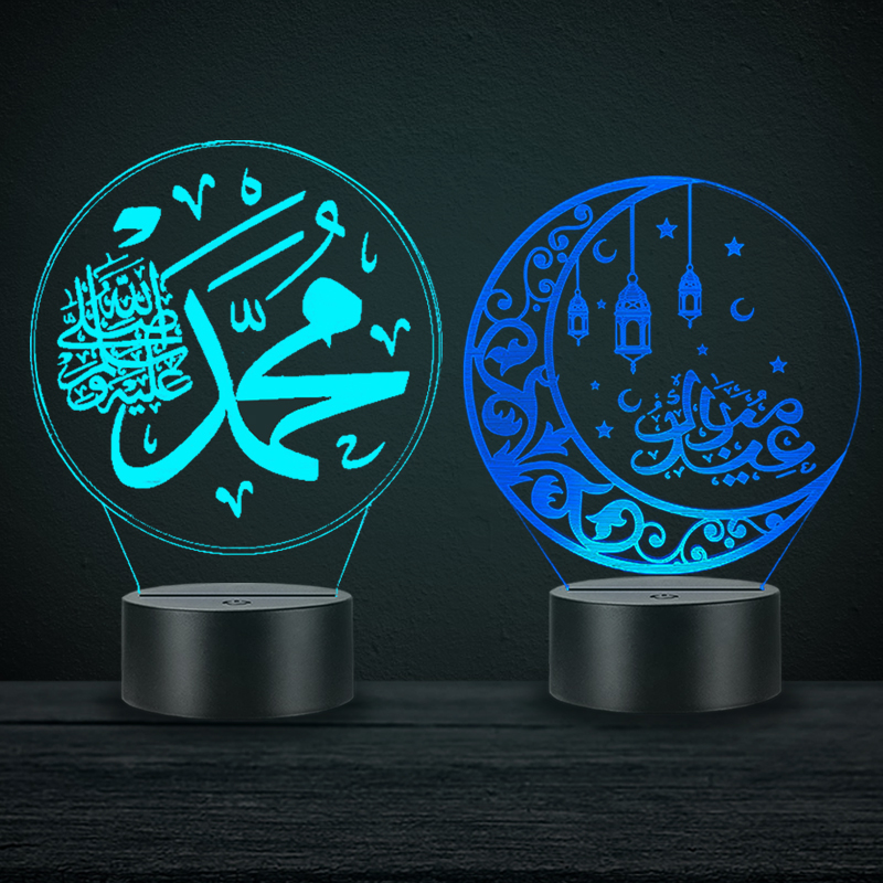 Ramadan Prayer Decoration 3D LED Islam Night Light Table Lamp Muslim Symbol Quran Moon Home Party Decor Gift Luminaria Lampara