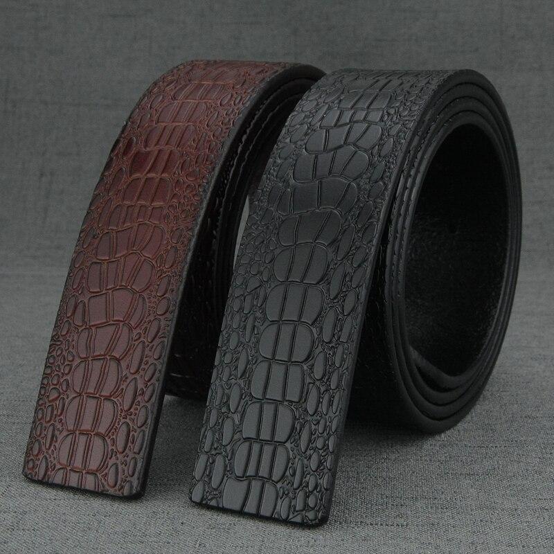 De alta calidad de la correa de la cintura 3,8 cm Ancho de cocodrilo grano Retro cinturón sin hebilla para hombres de moda de cuero genuino de la cintura