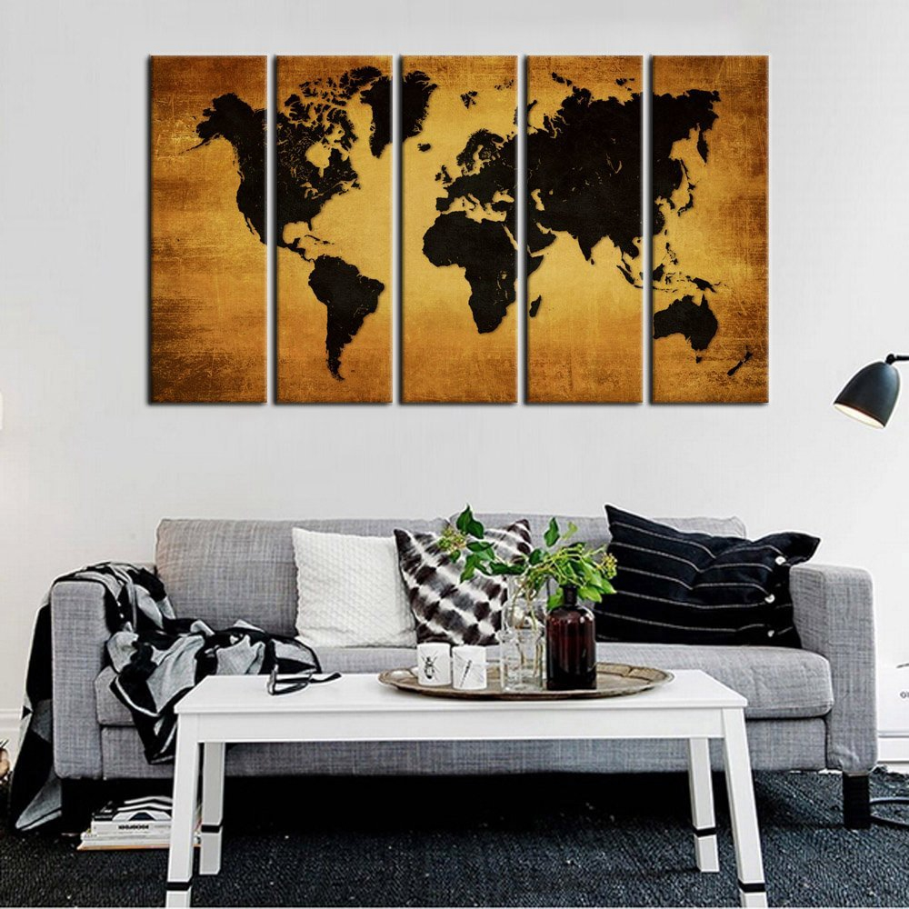 Aliexpress Com Buy Canvas Wall Art Print Vintage World Map