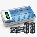 Carregador de bateria display lcd para aa/aaa/sc/c/d/9 v bateria + 4 pcs nimh 8000 mah bateria recarregável d
