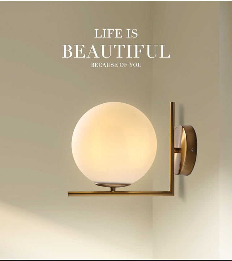 Modern LED Wall Lamp Light Moon Glass Wall Sconce Light Fixture With Milk White Glass Shade Guaranteed 100%+Free shipping! modern vintage pandora s box wall lamp black bedroom glass shade wall sconce light fixture
