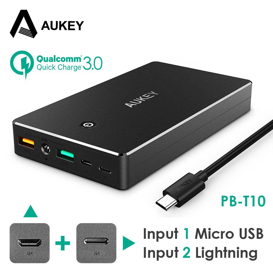 AUKEY Banco Do Poder 20000 mAh Portátil Bateria Externa Backup Carregador Móvel Powerbank Dupla USB para o Telefone Inteligente Galaxy S8 iPhone LG