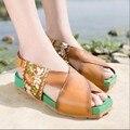 Genuíno sapatos de couro feitos à mão das mulheres tendência nacional bordados de flores sandálias abertas toe sandálias de personalidade do vintage