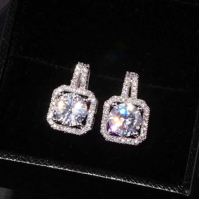 OL Style Luxury Square Austrian Clear Cubic Zirconia Earrings for Women Fashion Party Elegant Wedding Stud Earrings Jewelry E175