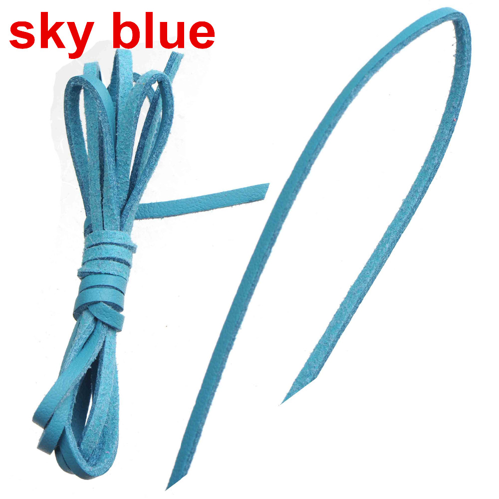 diy 3mm flat cords bracelet leather choker necklaces handmade imitate thread single narrow suede sky blue jewelry components 30m
