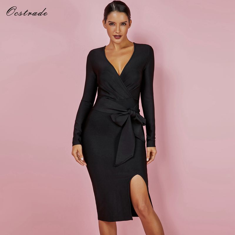 Includes black belt Ocstrade 2019 Women New Fashion Elegant Vestidos Formal Knee Length Black Long