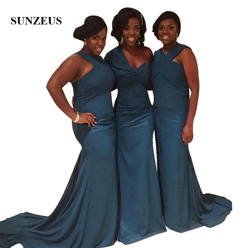 Mermaid Long Chiffon Bridesmaid Dresses Elegant Simple Black Girls Wedding Guest Dress African Women Party Gowns