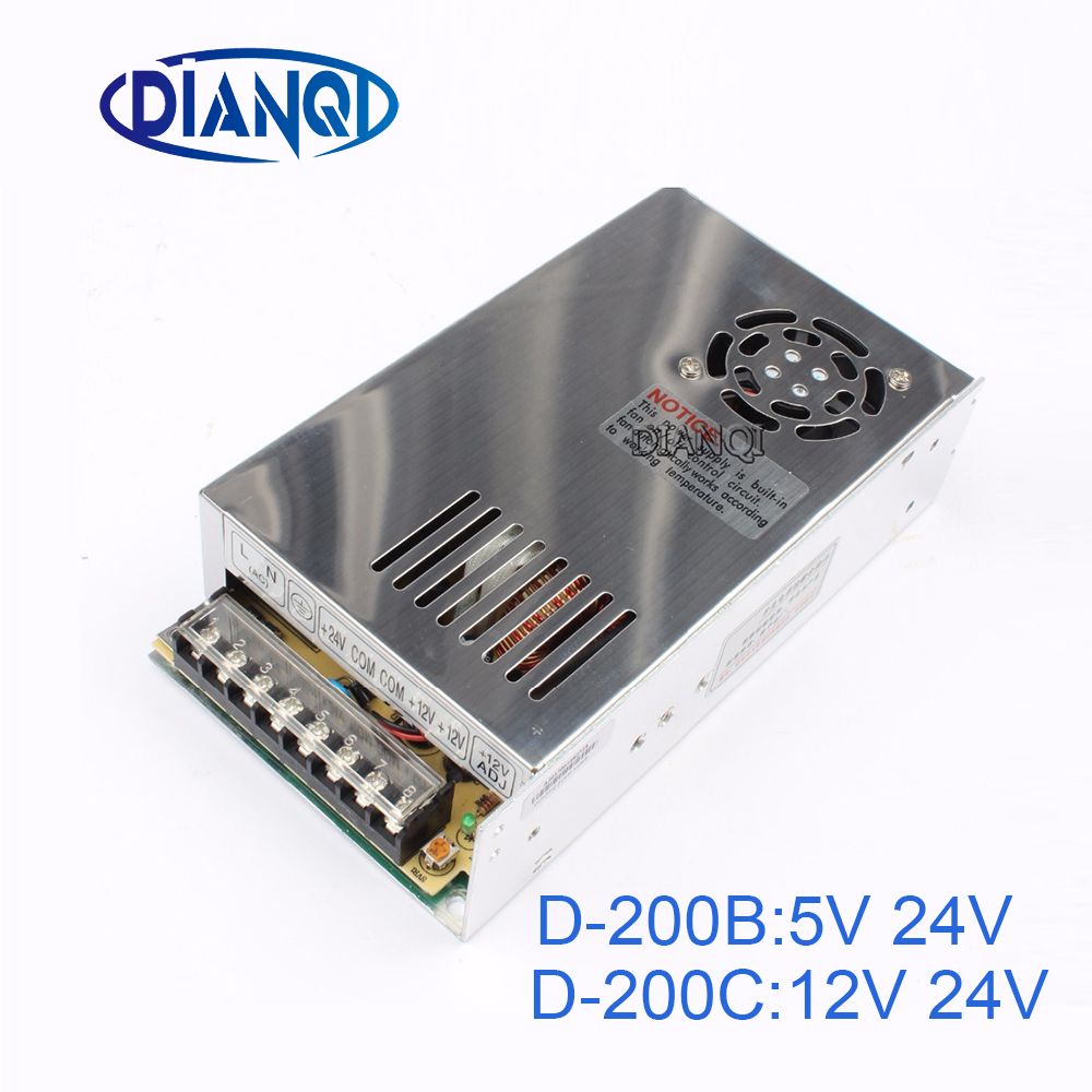 DIANQI dual output Switching power supply 200w  5V 12v 24V power suply D-200C  ac dc converter D-200B d 120a dual output switching power supply 120w 5v 12a 12v 5a ac to dc power supply ac dc converter