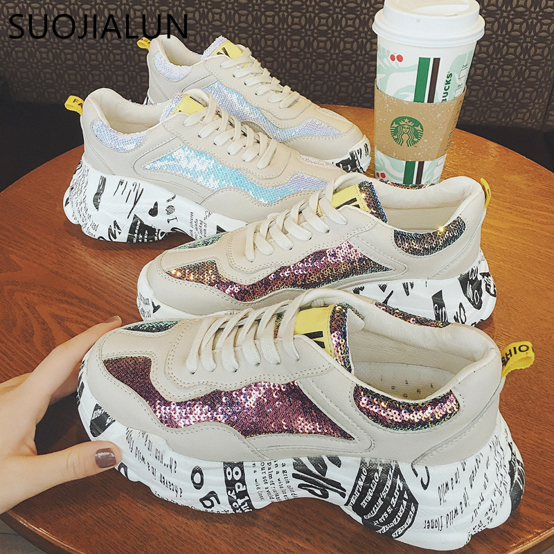 SUOJIALUN 2019 Spring New Women Casual Flat Platform Sneakers Shoes Brand Bling Female Breathable Lace Up Round Toe Flat ShoesSUOJIALUN 2019 Spring New Women Casual Flat Platform Sneakers Shoes Brand Bling Female Breathable Lace Up Round Toe Flat Shoes