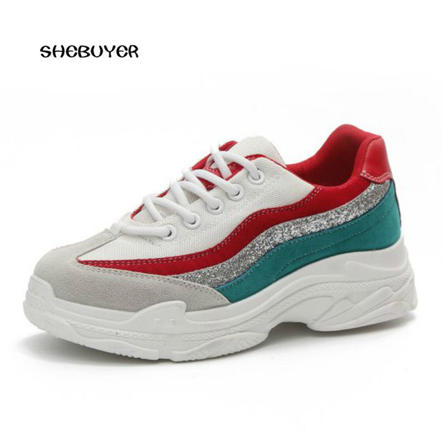 Womens Lace Up Mixed Color Breathable Casual Sneakers Flat Sport Running Shoes