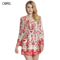 ORMELL Women S Sexy Elegant V Neck Jumpsuits Boho Red Blue Floral Print Playsuits Romper Beach