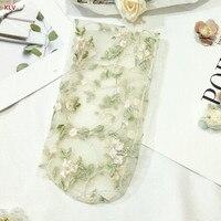 KLV Women Lace Mesh Fishnet Flower Embroidery Short Hosiery Floral Socks