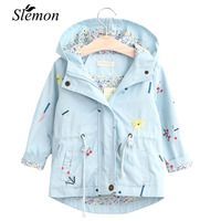 Girls Windbreaker Coat Spring Autumn Toddlers Kids Flower Embroidery Hooded Outwear Child Jacket Casual Coats Girl 2018 Clothing