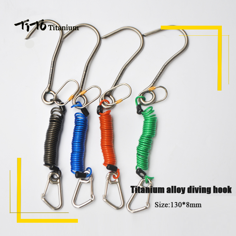 TiTo Titanium scuba diving titanium alloy diving hook Reef Drift Hook Line and Hook for Current Dive Underwater Outdoor camping cressi newton titanium dive computer