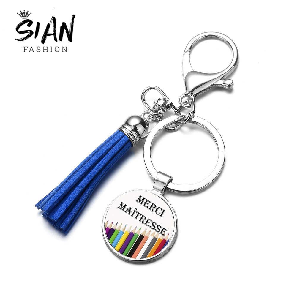 Nuevo diseño de moda SIAN superamante borla llavero vidrio Arte Creativo foto hecha a mano encanto llavero soporte para regalo de maestro