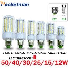 LED Ampul SMD5736 E27 E14 LED lamba ışığı 50 W 40 W 30 W 25 W 15 W 12 W 7 W Akkor değiştirin 220 V Spot Mısır ev için LED Işıkları