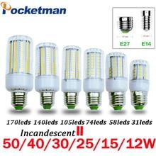 Светодиодная лампочка SMD5736 E27 E14, светодиодная лампа накаливания 50 Вт, 40 Вт, 30 Вт, 25 Вт, 15 Вт, 12 Вт, 7 Вт, заменяемая стандартная лампочка 220 В, светодиодсветильник лампочка «Кукуруза» для дома