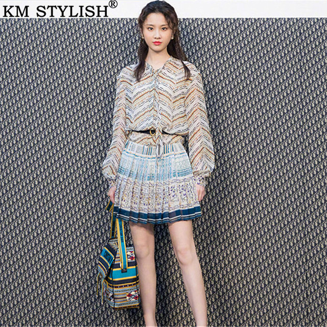 Summer New Women's Long Sleeve Chiffon Vintage Print Striped Pleated Short One-piece Dress