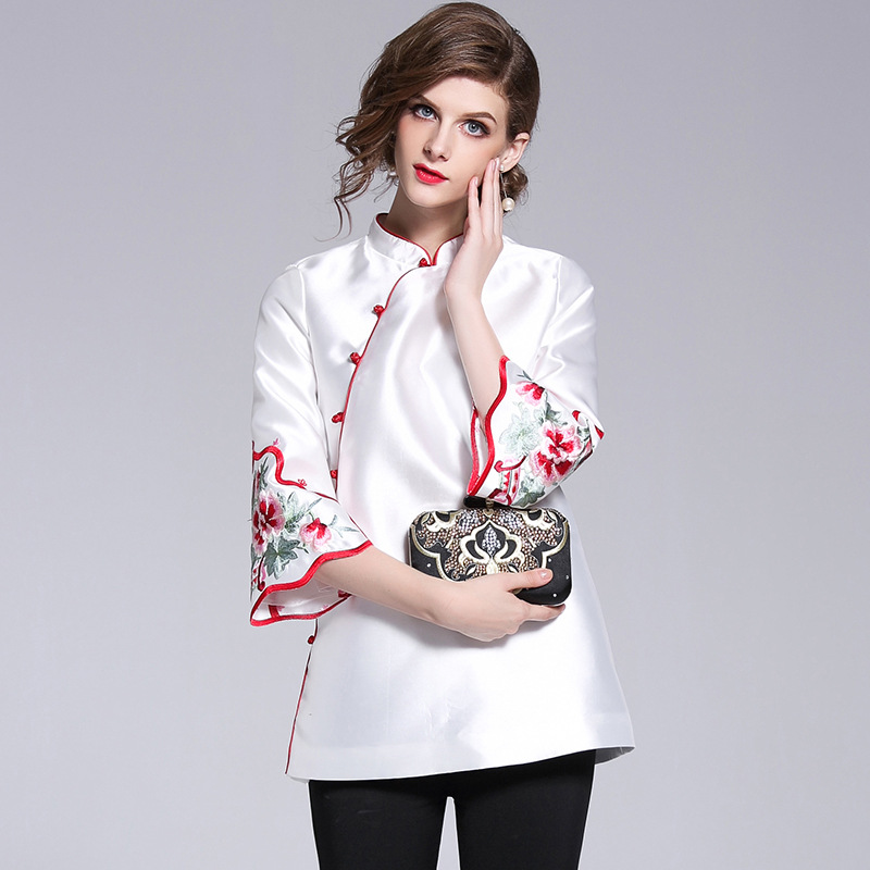 Long sleeve Chinese embroidery women coat top