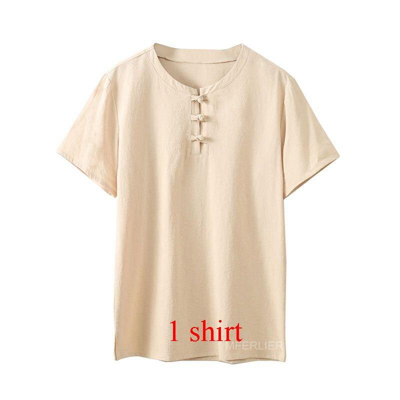 MFERLIER Summer men shirt 5XL 6XL 7XL 8XL 9XL 10XL Bust 157-162cm plus size linen large size shirt with shorts men 5 colors 10
