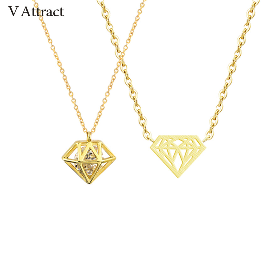 V Attract 10pcs Stainless Steel Chain Collier Femme 2018 New Hot CZ Cone Brilliant Charm Pendant Necklace Boho Jewelry
