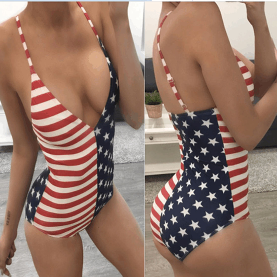 Black Friday Deals Amrican Flag One-Piece Swimsuit New Womens V neck Beachwear Swimwear push up monokini bikini Bathing