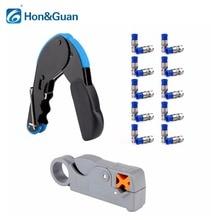 1 шт. сжатия обжимной + 20 штук RG6 разъемы + 1 шт. коаксиальный кабель инструмент для зачистки проводов