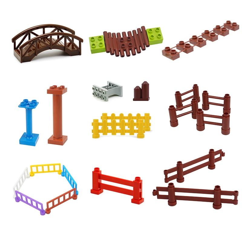 Big Building Blocks Farm Wild Scene Accessories Railing Fence Pillar Bridge Compatible With Duplo Diy Toy For Children Gift