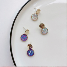 Charms Girls Round Crystal Earring Metal Zinc Alloy Pink White Blue personality For Women Wedding Fashion Jewelry Gift
