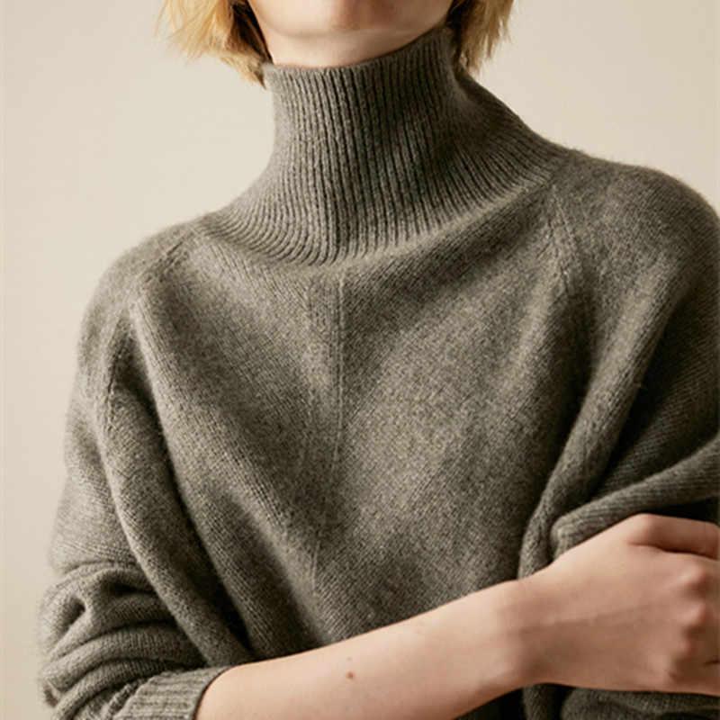 Gejas ainyu2019 Осень Зима Новый кашемировый свитер зимняя одежда женский свитер с высоким воротом свободные женские свитера вязаный пуловер