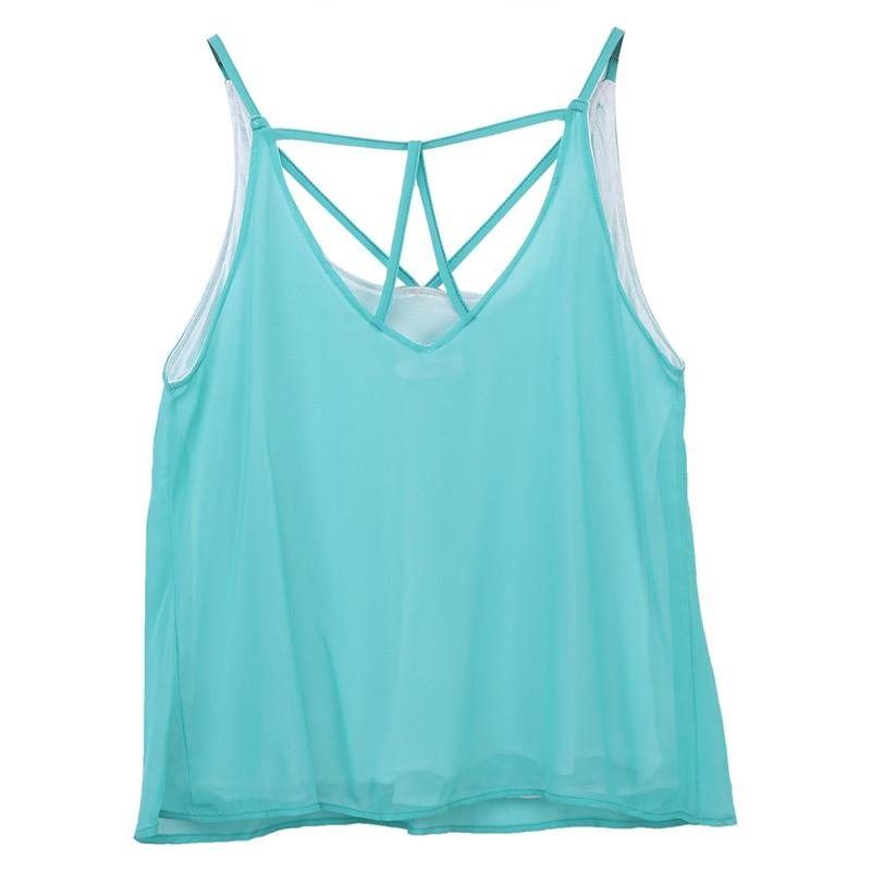 2017 Fashion Womens Summer Sexy Vest Lace V-neck Sleeveless Black - Women's Clothing - Photo 2