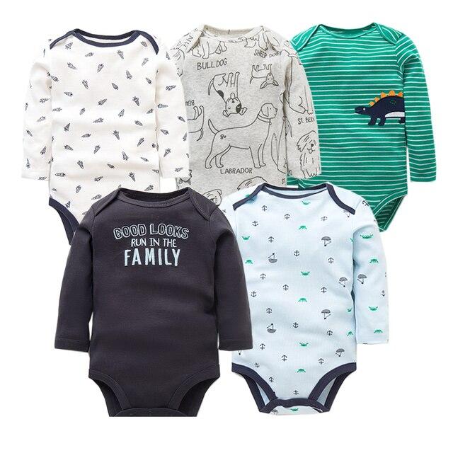 5 יח'\חבילה כותנה תינוק Bodysuits יוניסקס תינוקות סרבל אופנה תינוק בני בנות בגדים ארוך שרוול יילוד תינוק בגדי סט