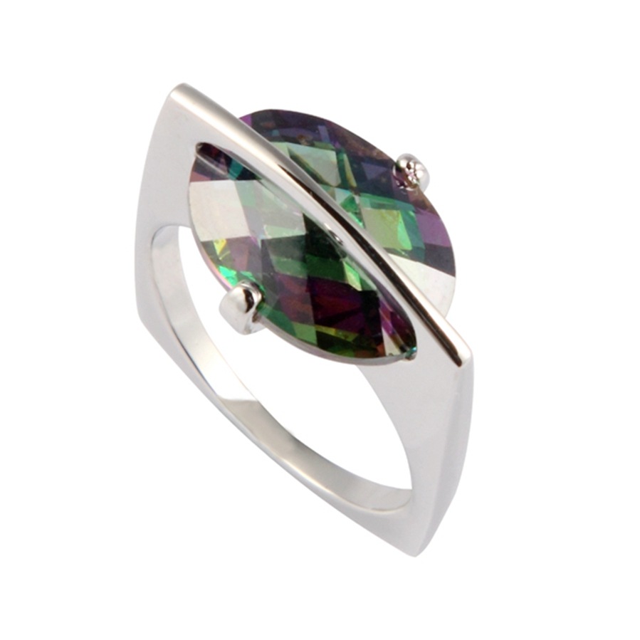 Fleure Esme Rainbow Mystic Stone Ring With Cubic Zirconia Silver Plated Favourite Jewelry R741G size 6 7 8 9 Engagement Wedding