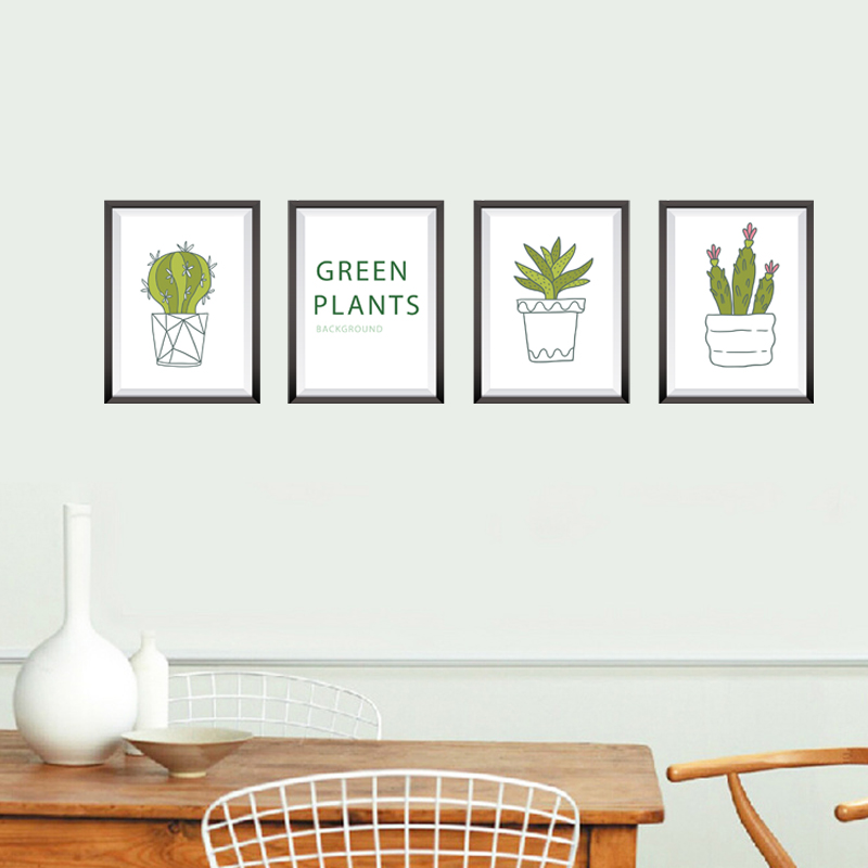 [Fundecor] Potted Plants Frame wall stickers home decor living room bedroom kitchen art wall decals self adhesive film murals