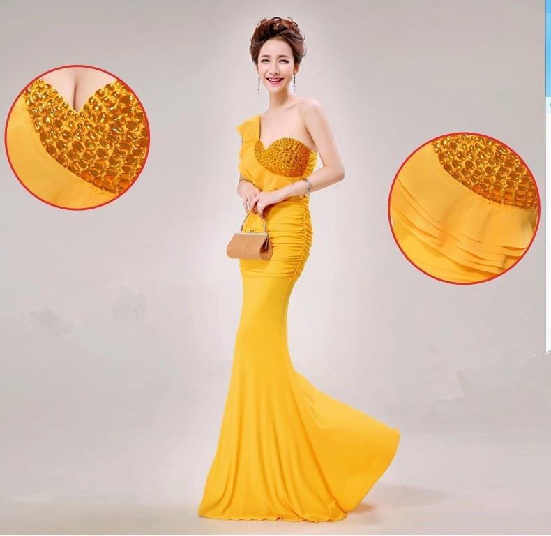 Распродажа, Хрустальные Вечерние платья на одно плечо, длинное вечернее платье, Abiti da Sera robe de vestido de festa longo com H0285 - Цвет: Yellow