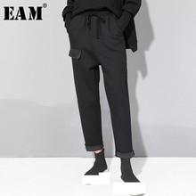 [EAM] 2020 New Spring Autumn High Elastic Waist Drawstring Pocket Stitc Loose Harem