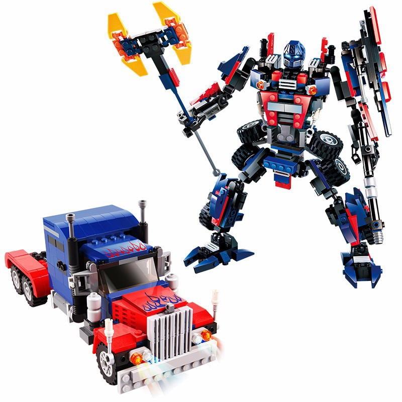 8713 GUDI 377Pcs Transformer Robot Car Heavy Truck Model Building Blocks Enlighten Figure Toys For Children Compatible Legoe