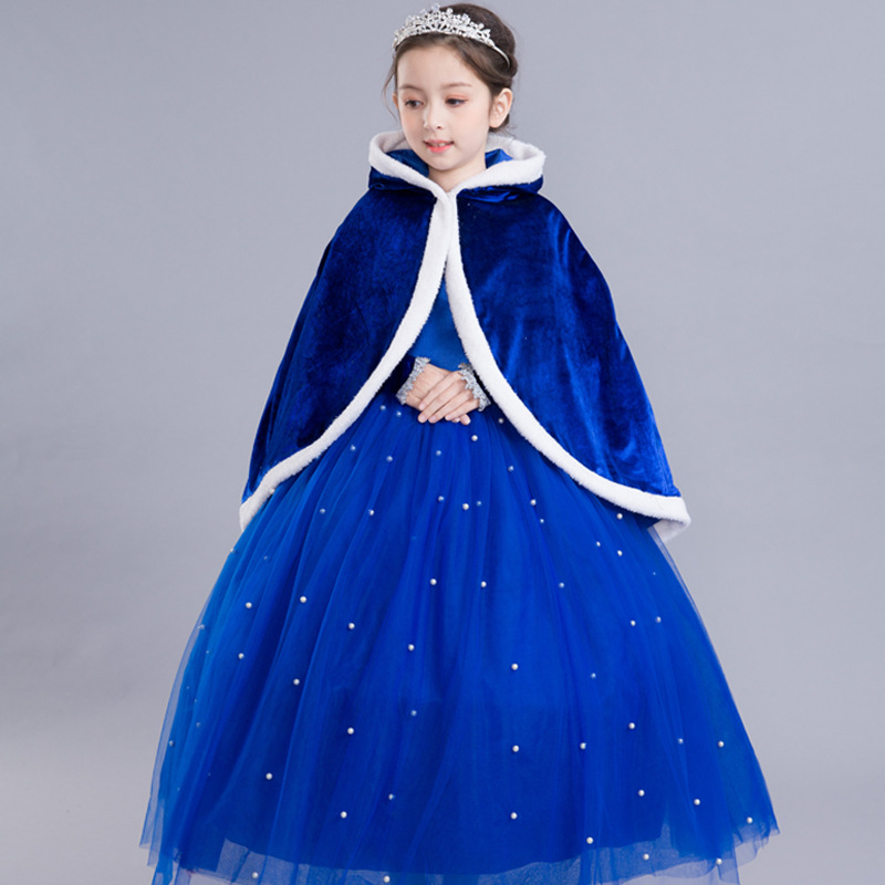 2018 New Cinderella Dress Girls Graceful Blue Ball Gown Shoulderless Party Dress Baby Evening Clothes Beauty Halloween Costume