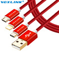VOXLINK Leather USB Type C Cable for Macbook 8pin Micro USB Cable For iPhone 7 6s Plus Samsung Galaxy Note 7 Phone Charger Cable