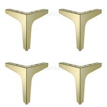 4PCS Gold Color Iron Wardrobe Leg Cabinet Furniture Sofa Foot of Triangle JF1799