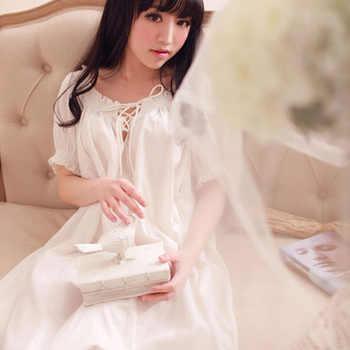 Women\'s Long Vintage Nightgown Home Dresses For Sleep Ladies Sexy Lace Summer Thin Sleepwear Ladies White Nightdress Lounge - DISCOUNT ITEM  48 OFF Underwear & Sleepwears