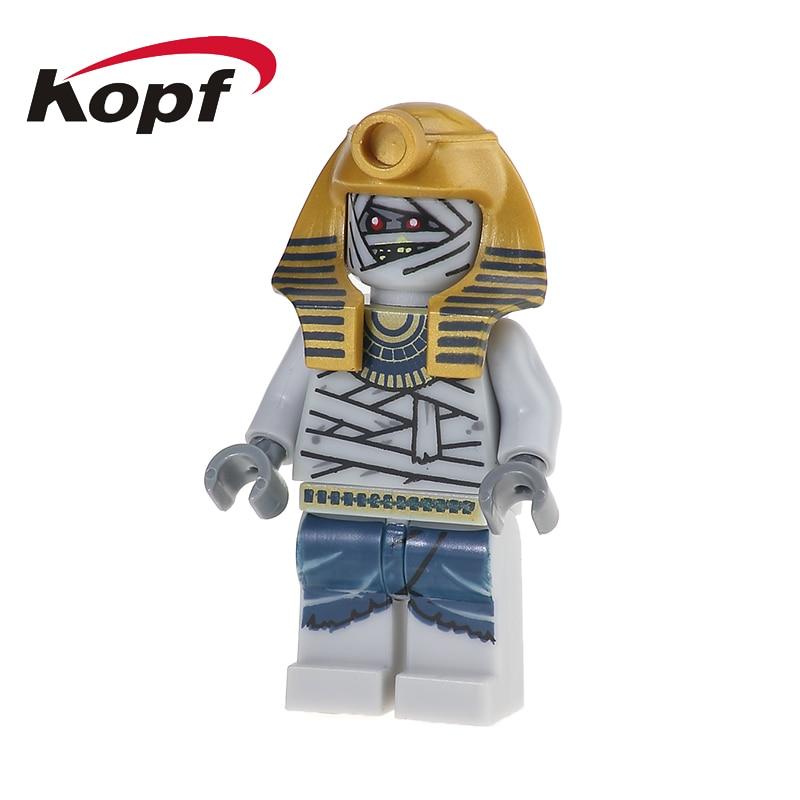 Single Sale Mummy Warrior Golden Face Egyptian Bricks Action Figures Super Heroes Building Blocks Toys for children Gift KL049