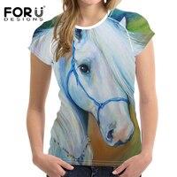 FORUDESIGNS 3D Crazy Horse Frauen Ölgemälde T-shirt Großhandel Hemd Kurzarm Damen T-shirts Tops Feminine Harajuku Stil