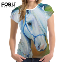 FORUDESIGNS 3D Crazy Horse Women Oil Painting T Shirt Wholesale Shirt Short Sleeved Ladies T-shirts Tops Feminine Harajuku Style