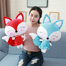 New 1pc Cute Red And Blue Little Fox Stuffed FOX IN 30/40/50CM Kawaii Animal Plush Toy Doll Baby KidS Gift Mini Toys