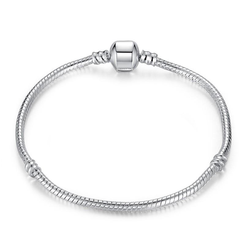 Blonde Genuine Single Leather Sterling Silver 925 Euro Charm Bead Snake Bracelet