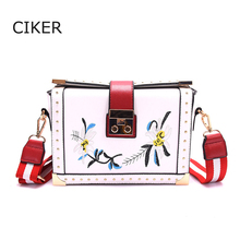 CIKER New Designer Brand cute embroidery flowers small messenger Bag women leather handbags girls crossbody bag fashion shoulder