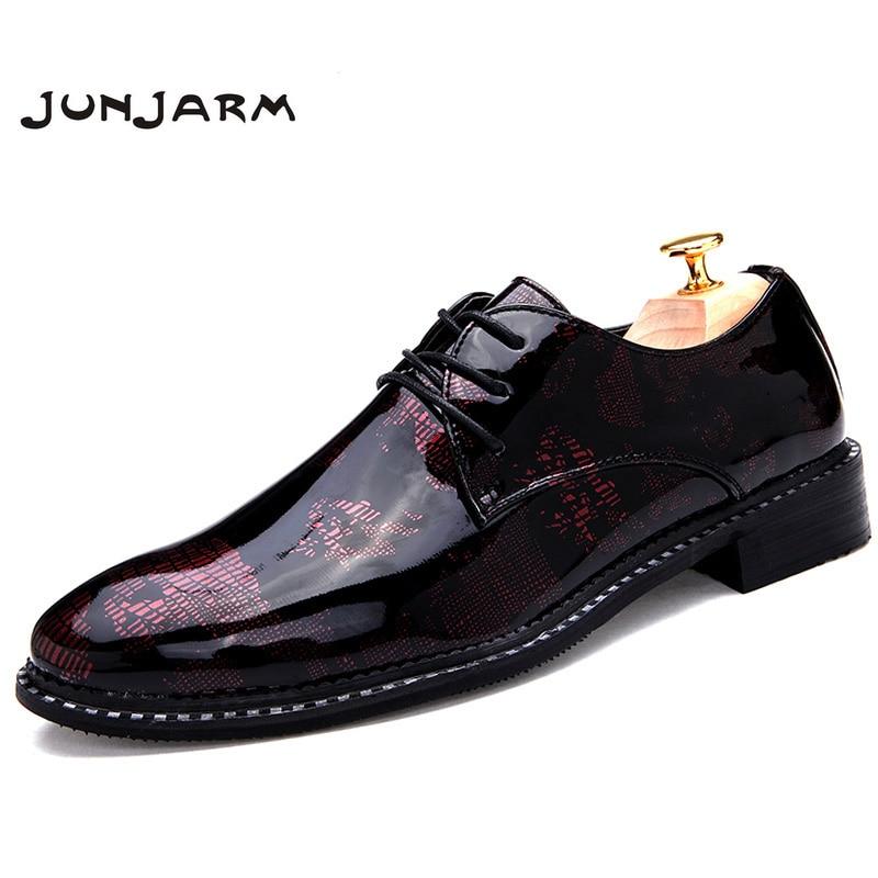JUNJARM 2017 New Pointed Toe Men Flats Shoes Designed Men Oxfords Shoes Lace Up Men Dress Leather Shoes Men Business Shoes
